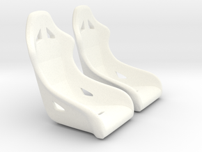 1/18 Modern Racing Seat Pair in White Processed Versatile Plastic