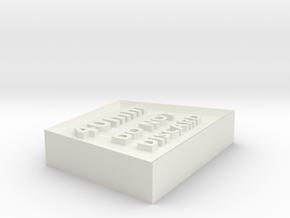 Alignment Block 40mm wide base in White Natural Versatile Plastic