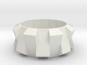 Ring N001 in White Natural Versatile Plastic