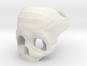 Skull Ring US 6 in White Natural Versatile Plastic