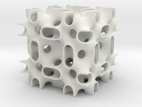 Gozdz BFY Cubic minimal surface 2x2x2 cells in White Natural Versatile Plastic