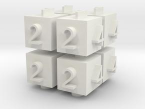 Cube Die in White Natural Versatile Plastic