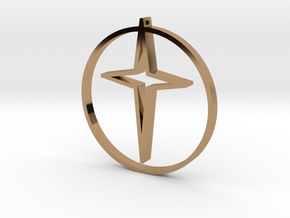 Circle of life cross 40mm in Polished Brass