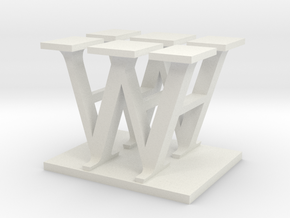 Two way letter / initial H&W in White Natural Versatile Plastic