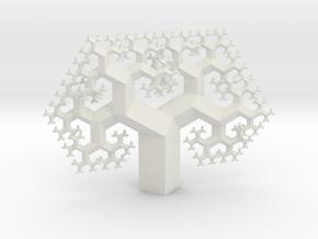 Regular Fractal Tree in White Natural Versatile Plastic