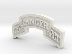 Ranger Scroll (75th Ranger RGMT) in White Natural Versatile Plastic