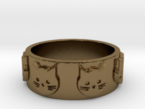Ring of Seven Cats Ring Size 8.5 in Polished Bronze