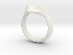 "heart ring ""Polena"" in White Natural Versatile Plastic"