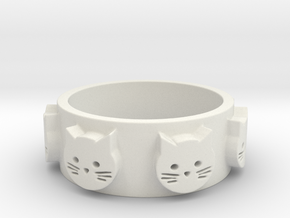 Ring of Seven Cats Ring Size 6.5 in White Natural Versatile Plastic