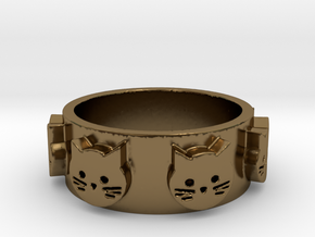 Ring of Seven Cats Ring Size 7 in Polished Bronze