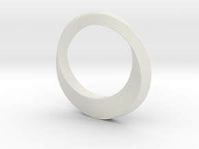 Mobius Ring in White Natural Versatile Plastic