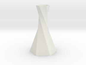 Twisted Hex Vase in White Natural Versatile Plastic