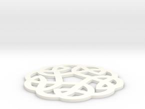 Celtic Knotwork Round Ornament in White Processed Versatile Plastic
