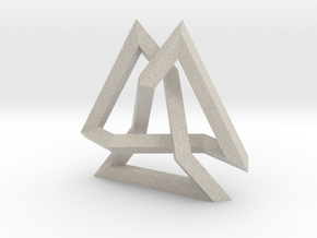 Trefoil Knot inside Equilateral Triangle (Large) in Natural Sandstone