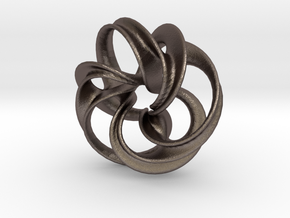 Scherk Minimal Surface Toroid in Polished Bronzed Silver Steel