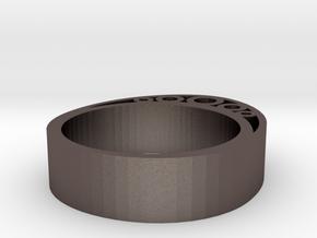 Secret Egg Ring (Large) in Polished Bronzed Silver Steel