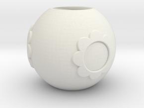 Pandora bead with flower in White Natural Versatile Plastic
