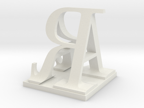 Two way letter / initial A&R size XL in White Natural Versatile Plastic