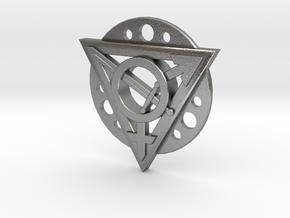 Transgender Warrior Pendant (flanged) in Natural Silver