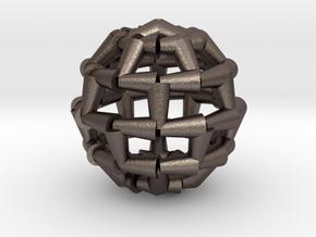 Brick Sphere 4 in Polished Bronzed Silver Steel
