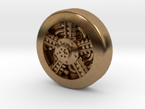 Aviation Button - Radial Engine in Natural Brass