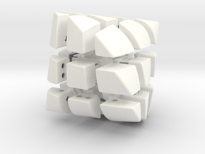 Mini 3x3x3 Bicone in White Strong & Flexible Polished