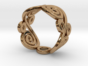 2 Spirals and Ovals -Closed version- Size17 in Polished Brass