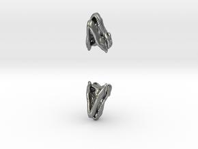 T Rex skull earring in Natural Silver