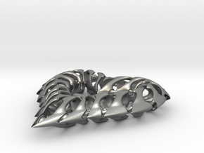 Rib Heart 1 in Natural Silver