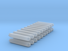20 Simple Missiles in Smooth Fine Detail Plastic