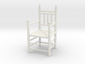 1:24 Pilgrim's Chair with arms in White Natural Versatile Plastic