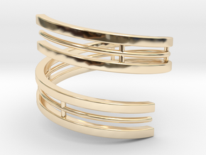 Bar And Center Wire Ring Size 10 in 14K Yellow Gold
