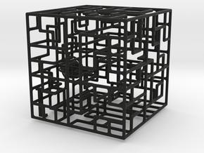 Escher's Playground 3D Maze Cube in Black Strong & Flexible