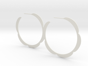 Flower hoop earrings in White Natural Versatile Plastic