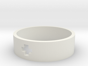 Plus Ring (19mm/Size 9) in White Natural Versatile Plastic