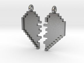 Pixel Heart Friendship Pendant in Natural Silver