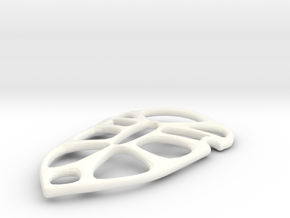 Shield Pendant in White Processed Versatile Plastic