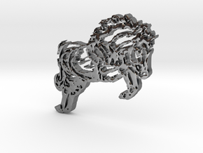 Horse Jumping in Fine Detail Polished Silver