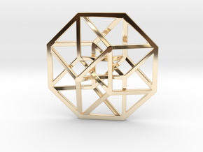 4D Hypercube (Tesseract) small in 14K Gold