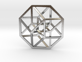 4D Hypercube (Tesseract) small in Natural Silver