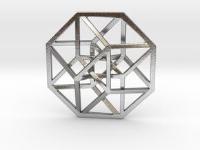 4D Hypercube (Tesseract) small in Raw Silver