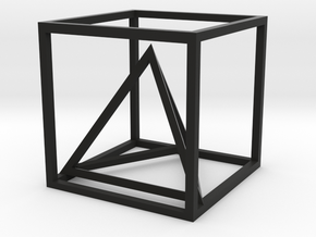 Tetrahedron in cube in Black Strong & Flexible