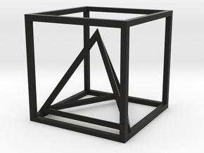 Tetrahedron in cube in Black Natural Versatile Plastic