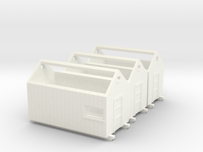 H0 logging - Storage Sheds (3pcs) in White Processed Versatile Plastic
