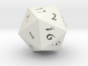 """D20 Hollow Large 3"""" in White Natural Versatile Plastic"""