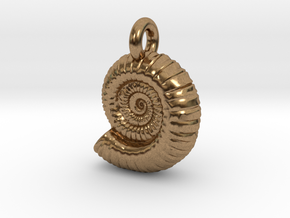 Ammonite Earing/Pendant  in Natural Brass