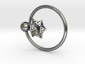 Keyring with Star of David in Polished Silver
