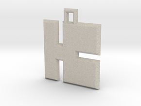 ABC Pendant - K Type - Solid - 24x24x3 mm in Natural Sandstone