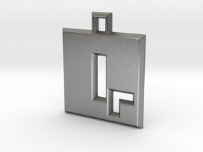 ABC Pendant - Q Type - Solid - 24x24x3 mm in Natural Silver