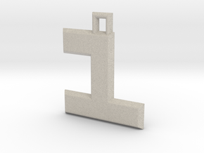 ABC Pendant - 1 Type - Solid - 24x24x3 mm in Natural Sandstone